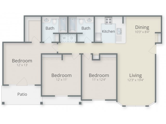 Three Bedroom / Two Bathroom Style