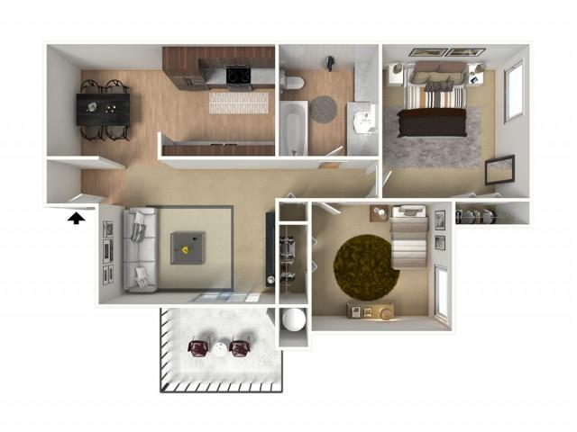 2 Bed / 1 Bath Apartment in Visalia CA   Oak View Apartments