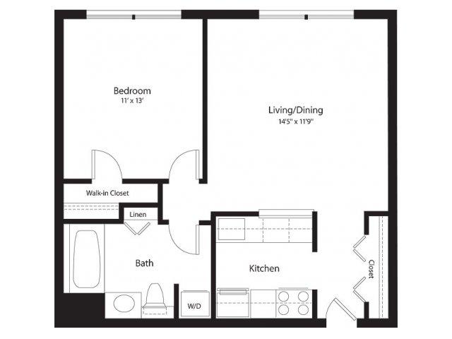 1 Bedroom Floor Plan | Lenox Park