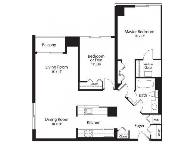 2 Bedroom Floor Plan | Lenox Park