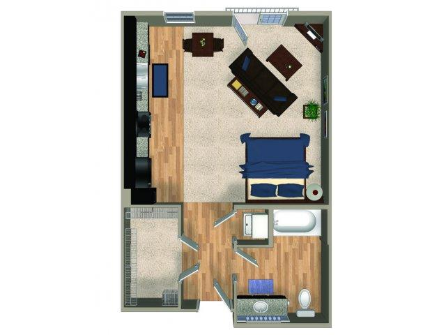 Studio one bathroom A0 floorplan at The Reserve Apartments in Renton, WA