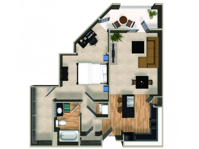 One bedroom one bathroom A4 floorplan at The Reserve Apartments in Renton, WA