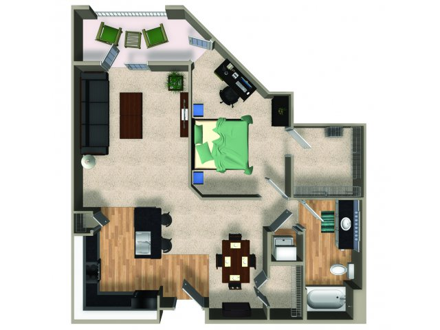 One bedroom one bathroom A5 floorplan at The Reserve Apartments in Renton, WA