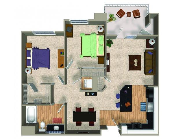 Two bedroom one bathroom B1 floorplan at The Reserve Apartments in Renton, WA