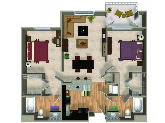 Two bedroom two bathroom B2 floorplan at The Reserve Apartments in Renton, WA
