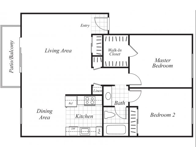 Two bedroom one bathroom B3 floor plan at Baycliff Apartments in Richmond, CA