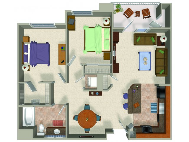 Two bedroom one bathroom B1 Floorplan at Sanctuary Apartments in Renton, WA