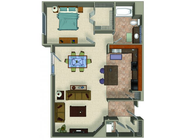 One bedroom one bathroom A8 Floorplan at Sanctuary Apartments in Renton, WA