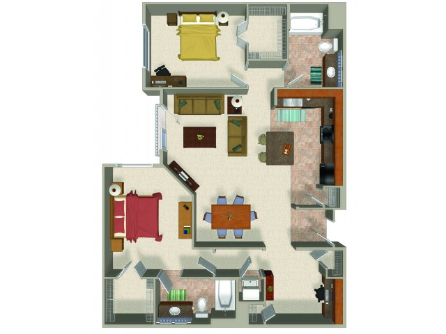 Two bedroom two bathroom B5 Floorplan at Sanctuary Apartments in Renton, WA