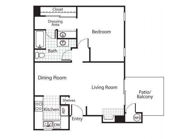One bedroom one bathroom A1 floor plan at Bennington Apartments in Fairfield, CA