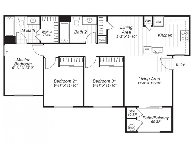 Three bedroom two bathroom C1 floor plan at Bristol Apartment Homes in Dixon, CA