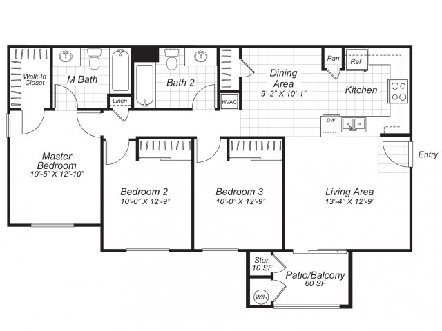 Three bedroom two bathroom C2 floor plan at Bristol Apartment Homes in Dixon, CA