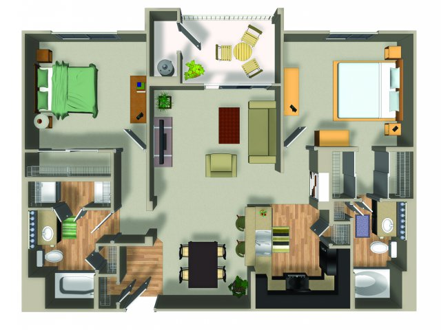 2 Bedroom 2 Bath B21 Floorplan at Dakota Apartments in Winchester, CA