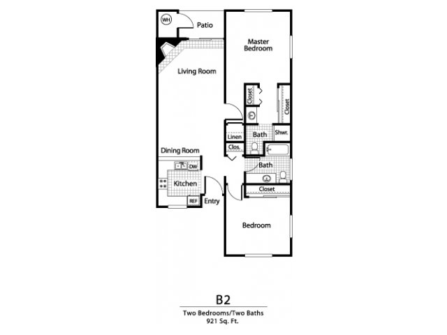 Two bedroom two bathroom B2 Floorplan at Ellington Apartment Homes in Davis, CA