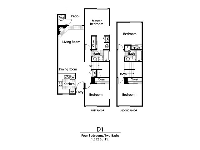 Four bedroom two bathroom D1 Floorplan at Ellington Apartment Homes in Davis, CA