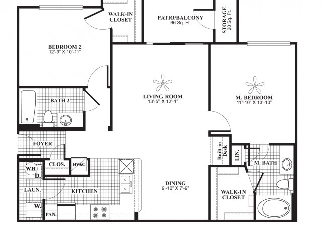 Two bedroom two bathroom B2 Floorplan at Lakeland Estates Apartment Homes in Stafford, TX