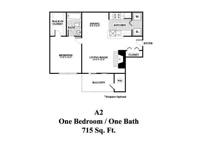 One bedroom one bathroom A2 Floorplan at Middletown Brooke Apartments in Middletown, CT