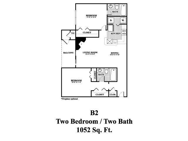 Two bedroom two bathroom B2 Floorplan at Middletown Brooke Apartments in Middletown, CT