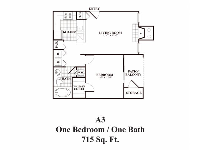 One bedroom one bathroom A3 Floorplan at Middletown Ridge Apartments in Middletown, CT