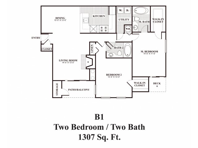 Two bedroom two bathroom B1 Floorplan at Middletown Ridge Apartments in Middletown, CT