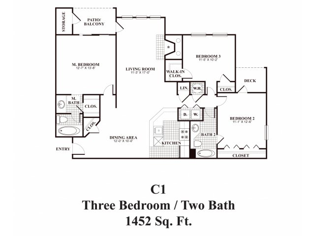 Three bedroom two bathroom C1 Floorplan at Middletown Ridge Apartments in Middletown, CT