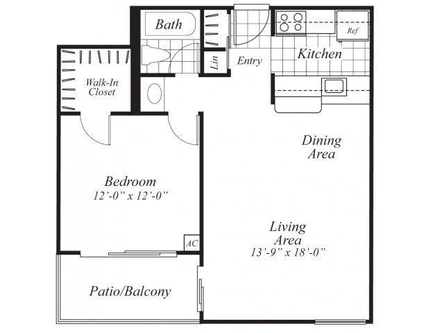 One bedroom one bathroom A1 Floorplan at Ridgemoor Apartment Homes in Lakewood, CO