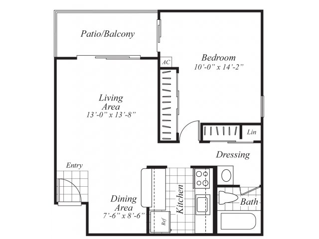 One bedroom one bathroom A2 Floorplan at Ridgemoor Apartment Homes in Lakewood, CO