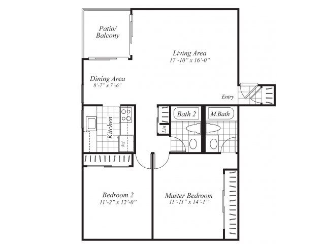 Two bedroom two bathroom B1 Floorplan at Ridgemoor Apartment Homes in Lakewood, CO