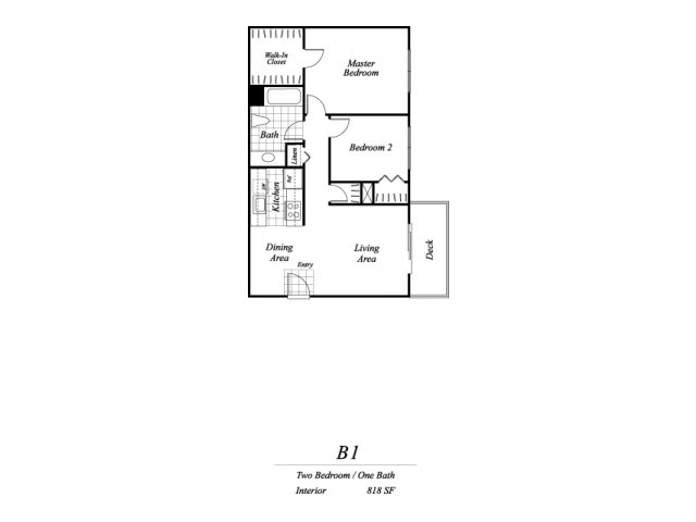 Two bedroom one bathroom B1 floorplan at Timberleaf Apartments in Lakewood, CO