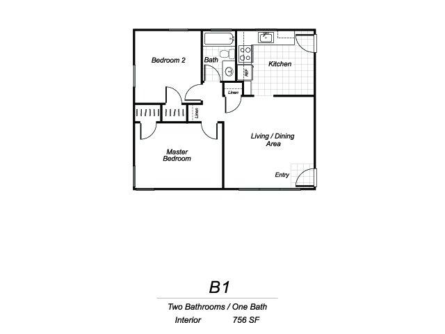 Two bedroom one bathroom B1 floorplan at Sutterfield Apartments in Providence, RI