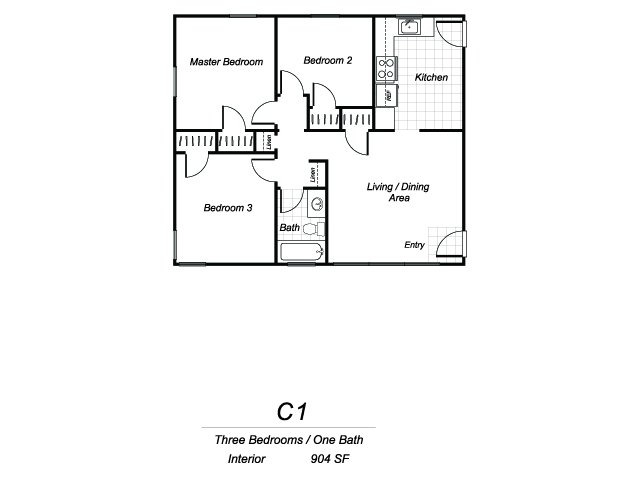 Three bedroom one bathroom C1 floorplan at Sutterfield Apartments in Providence, RI