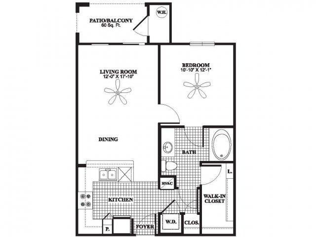 One bedroom one bathroom A1 floorplan at The Preserve at Catons Crossing Apartments in Woodbridge, VA