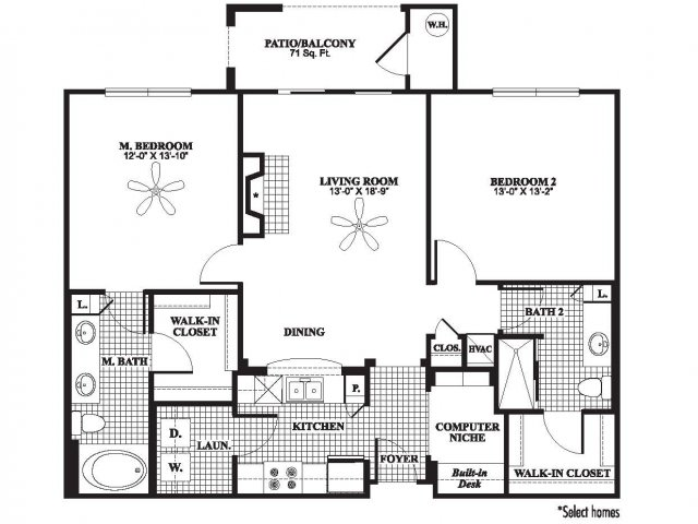 Two bedroom two bathroom B2 floorplan at The Preserve at Catons Crossing Apartments in Woodbridge, VA