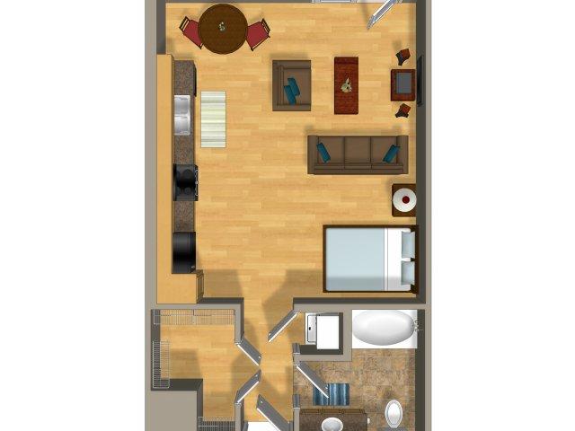 Studio apartment A0 floor plan at Talavera Apartments in Denver, CO