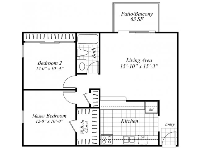 Two bedroom one bathroom B1 floorplan at Turnleaf Apartments in San Jose, CA