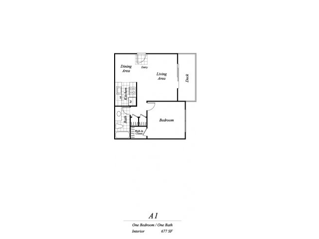 One bedroom one bathroom A1 floorplan at Timberleaf Apartments in Lakewood, CO