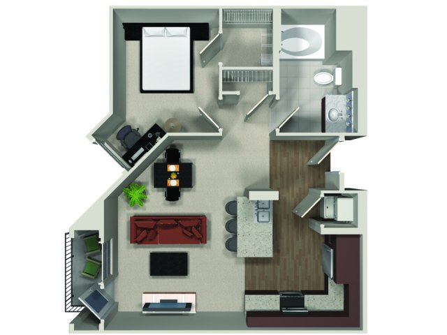 One bedroom one bathroom A2 floor plan at Carabella at Warner Center Apartments in Woodland Hills, CA