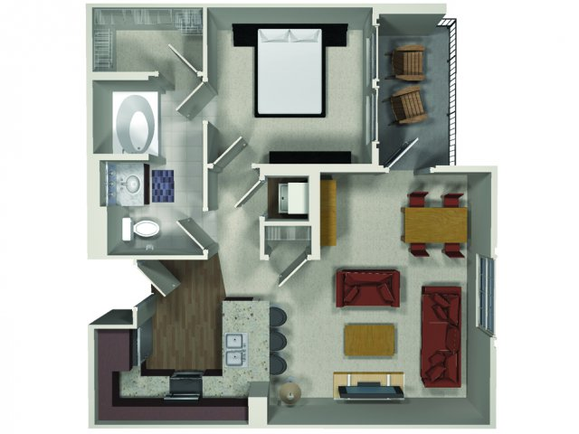 One bedroom one bathroom A3 floor plan at Carabella at Warner Center Apartments in Woodland Hills, CA