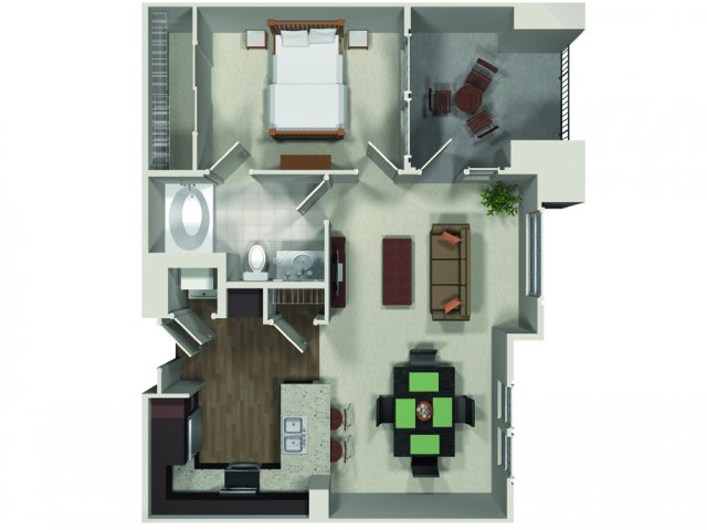 One bedroom one bathroom A6 floor plan at Carabella at Warner Center Apartments in Woodland Hills, CA