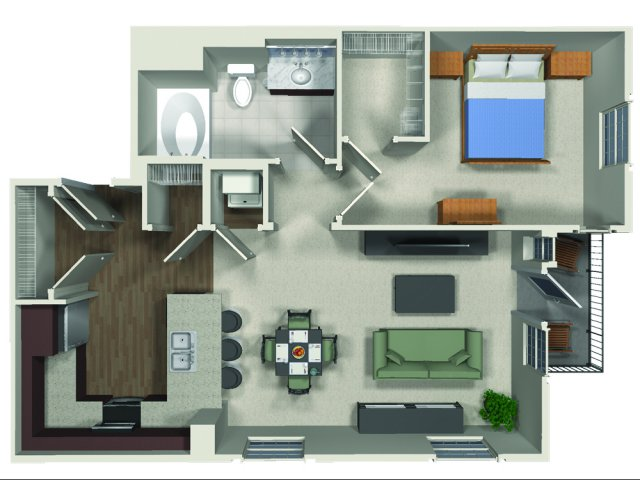 One bedroom one bathroom A7 floor plan at Carabella at Warner Center Apartments in Woodland Hills, CA