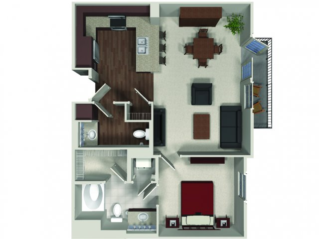One bedroom one and a half bathroom A9 floor plan at Carabella at Warner Center Apartments in Woodland Hills, CA