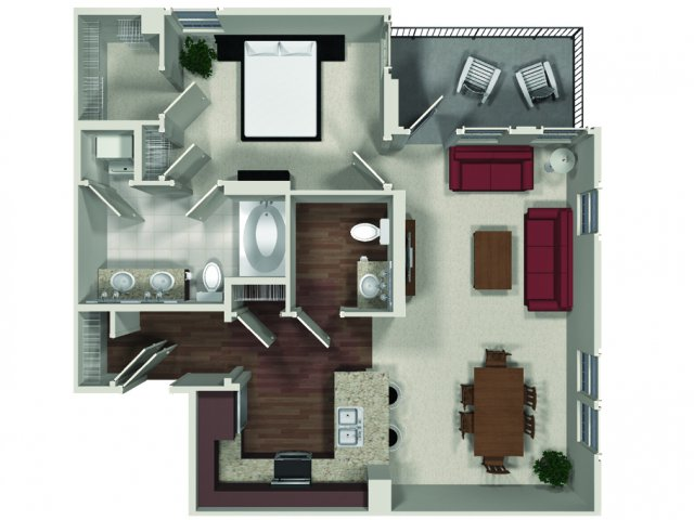 One bedroom one and a half bathroom A10 floor plan at Carabella at Warner Center Apartments in Woodland Hills, CA