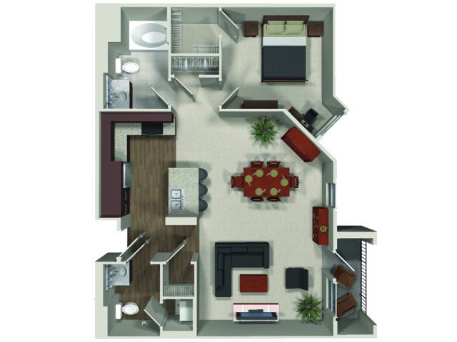One bedroom one and a half bathroom A11 floor plan at Carabella at Warner Center Apartments in Woodland Hills, CA