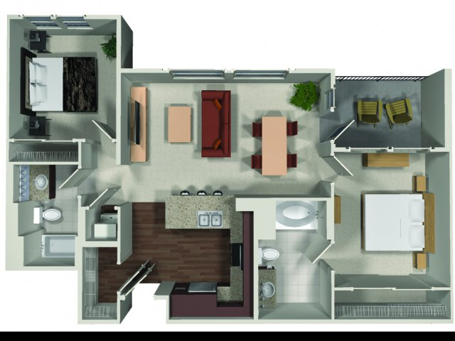 Two bedroom two bathroom B1 floor plan at Carabella at Warner Center Apartments in Woodland Hills, CA
