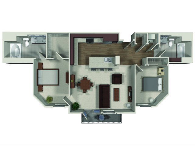 Two bedroom two bathroom B3 floor plan at Carabella at Warner Center Apartments in Woodland Hills, CA