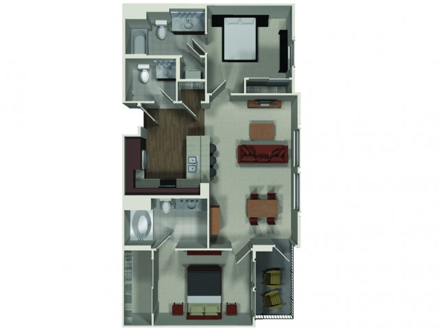 Two bedroom two and a half bathroom B4 floor plan at Carabella at Warner Center Apartments in Woodland Hills, CA
