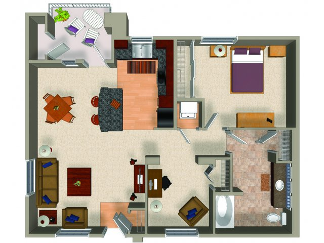 One bedroom one bathroom A3 floor plan at Carillon Apartments in Woodland Hills, CA