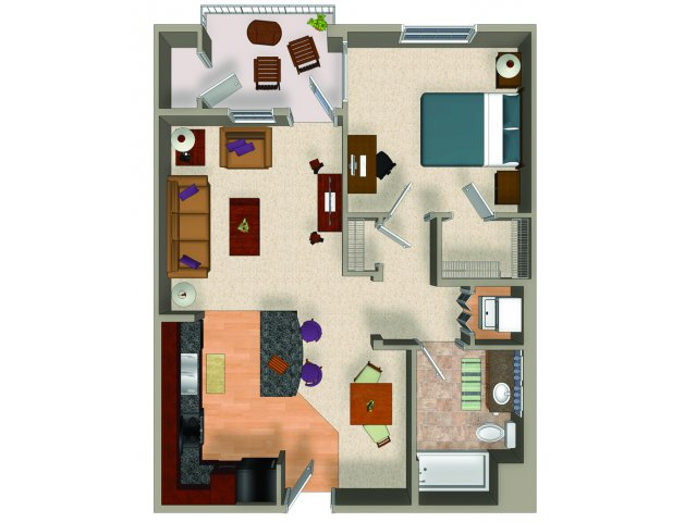 One bedroom one bathroom A4 floor plan at Carillon Apartments in Woodland Hills, CA