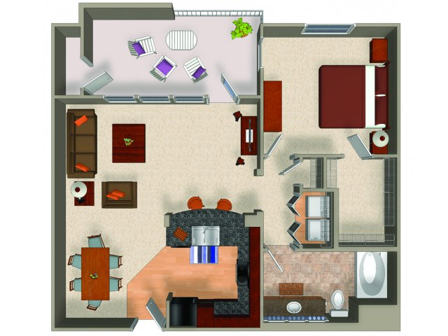 One bedroom one bathroom A5 floor plan at Carillon Apartments in Woodland Hills, CA