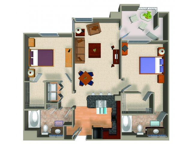 Two bedroom two bathroom B1 floor plan at Carillon Apartments in Woodland Hills, CA